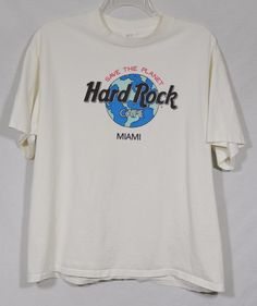 HARD ROCK CAFE Miami Save The Planet White T-Shirt Globe One Size Made in USA #HardRock #GraphicTee