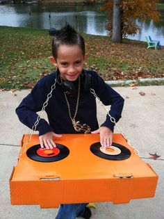 Spray paint a box hot glue some vinyl records on.  sc 1 st  Pinterest & 10 best Paper and Cardboard Halloween Costumes images on Pinterest ...