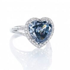 Heart Shaped Vivid Blue diamond ring, 5.01 carats