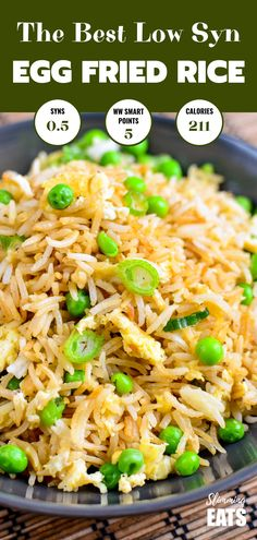 The Best Low Syn Egg fried rice - the perfect side dish for all your Chinese Fakeaway dishes. Gluten Free, Dairy Free, Vegetarian, Slimming World and Weight Watchers friendly The Best Low Syn Egg Fried Rice Slimming World Fakeaway, Slimming World Dinners, Slimming Eats, Fried Rice Recipe Chinese, Fried Rice With Egg, Skinny Fried Rice, Egg Fried Rice Recipe Easy, Chinese Recipes, Chinese Food