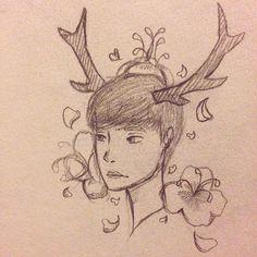 【nixx_draws_stuff】さんのInstagramをピンしています。 《Xiao Lu #deer#luhan#cherryblossoms#flowers#xiaolu#lu#derrluhan#deerlu#antlers#nixxdraws#sketch#sketches#petals》