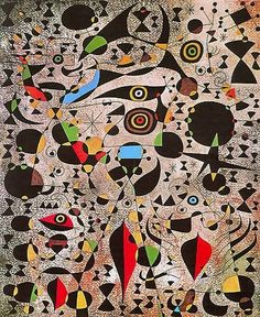Joan Miro - Ciphers Constellations - 1941 In this drawing, Miro has used many shapes, such as circles, squares, geometric shapes, and free form shapes.  Shannon Art6/03
