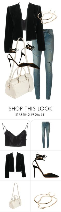 """""""Untitled #4663"""" by amm-xo ❤ liked on Polyvore featuring Alexander Wang, Yves Saint Laurent, Aquazzura and Forever 21"""