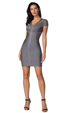Product Name: Herve Leger Bandage Dress V Neck Cap Sleeve Lace Gray Gender: Women Silhouette: Sheath Material: 90% Rayon,9% Nylon,1% Spandex Occasion: Red Carpet Dresses,Oscar Dresses,Party Dress,Cocktail Dress,Club Dress,Daily wear Oscar Dresses, Club Dresses, Sheath Dress, Bodycon Dress, Woman Silhouette, Herve Leger, Red Carpet Dresses, Collar Dress, Daily Wear
