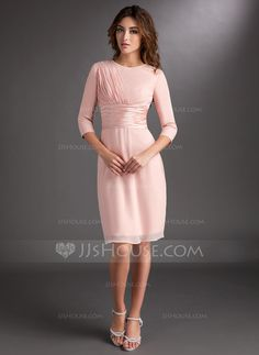 Sheath/Column Scoop Neck Knee-Length Chiffon Charmeuse Mother of the Bride Dress With Ruffle (008006836) $126