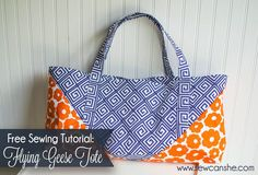 When I got these gorgeous canvas fabric prints that look so awesome together, I knew I had to make a bag that showed off two prints at the same time. This is a big sturdy tote bag that's perfect for taking to the beach, yoga class, or just to the grocery store. There are pockets on the inside