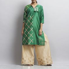 Set of Green Cross Design Chanderi Kurta with Floral Hand Block Printed Chanderi Palazzo