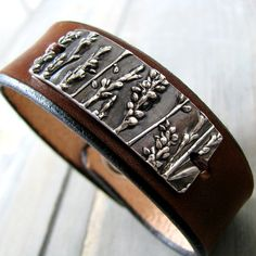 Earth Jewelry, Handmade Fine Silver on Leather Cuff, Lady's Thumb, SilverWishes by Kristan