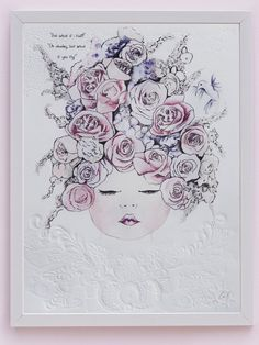 'Phoenix' fine art print by One Sonny Day. Australian kids and children's art. Soft pink flower crown, lilac floral headdress, delicate antique lace embossing. Perfect for wall art, little girls bedroom deco, children kids gifts, christening, baby shower, christmas present.