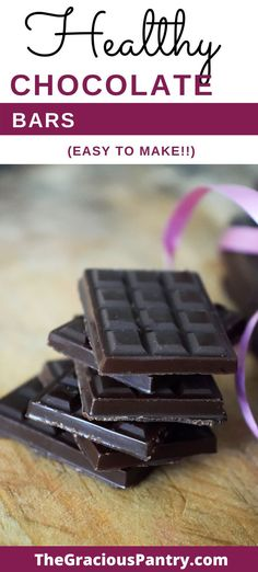This chocolate bars recipe is the perfect sweet treat to stash in your freezer for sweet tooth emergencies! Clean Eating Chocolate, Healthy Chocolate, Vegetarian Chocolate, Chocolate Bar Recipe, Chocolate Bars, Easy Delicious Recipes, Tasty, Yummy Food, Small Slow Cooker