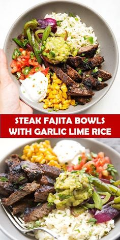 Tasty healthy food and drink that you definitely like STEAK FAJITA BOWLS WITH GARLIC LIME RICE Homemade steak fajita bowls with garlic lime rice. These fajita bowls taste even better than the ones at Fajita Bowl Recipe, Fajita Bowls, Burrito Bowls, Chipotle Steak Bowl Recipe, Chipotle Burrito Bowl, Chipotle Recipes, Chicken Burrito Bowl, Mexican Food Recipes, Beef Recipes
