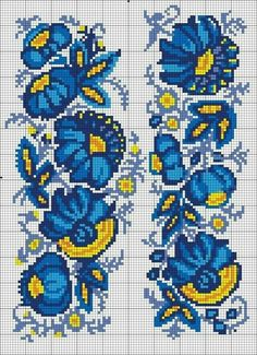 This Pin was discovered by Еле Cross Stitch Borders, Cross Stitch Flowers, Cross Stitching, Cross Stitch Embroidery, Hand Embroidery, Cross Stitch Patterns, Embroidery Patterns Free, Loom Patterns, Tapestry Crochet
