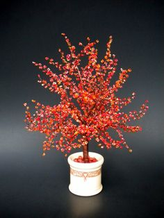 Autumn Ablaze - Beaded Bonsai Tree. copperglass, via Etsy.