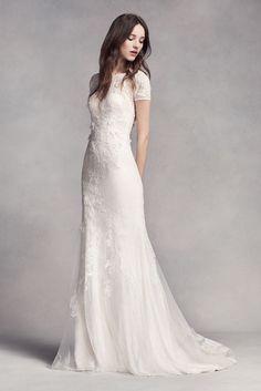White by Vera Wang Short Sleeve Lace Wedding Dress - Ivory, 2