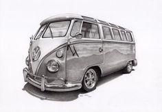 VW Splitty Camper van by on DeviantArt Realistic Pencil Drawings, Car Drawings, Campervan Tattoo, Vw T1, Volkswagen, Bus Drawing, Van Vw, Bus Art, Car Tattoos