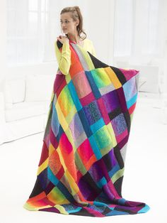 Knit the stunning Cosmic Rainbow afghan with our yarn of the month! Pattern calls for 12 skeins of Vanna's Choice and 6 skeins of Unique, plus size 9 mm) knitting needles. Afghan Patterns, Knitting Patterns Free, Knit Patterns, Free Knitting, Free Pattern, Knitting Needles, Knitted Afghans, Knitted Blankets, Crochet Crafts