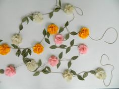 Items similar to Felt Rose Flower Garland - Wedding Ceremony Backdrop - Nursery Floral Wall Hanging - Flower Swag on Etsy Flower Garland Wedding, Rose Garland, Felt Garland, Wedding Ceremony Decorations, Flower Garlands, Wedding Flowers, Wedding Decor, Floral Nursery, Floral Wall