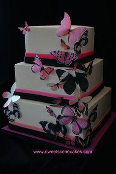 Sugar Butterflies Wedding Cake