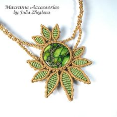 Macrame necklace Light Green braided woman necklace by makrame, $45.00