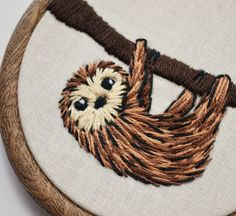 Hand embroidery sloth slow loris hoop art   https://www.facebook.com/pixiecrafthandmade