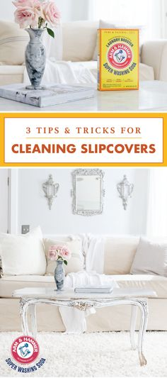 If keeping your furniture fresh and clean is part of your cleaning must-haves, then take a peek at these 3 Tips and Tricks for Cleaning Slipcovers! Using ARM & HAMMER™ Super Washing Soda, you can tackle spots, stains, and smelly fabrics all with the help Deep Cleaning Tips, Cleaning Solutions, Cleaning Hacks, Cleaning Schedules, Cleaning Products, Homemade Toilet Cleaner, Clean Baking Pans, Washing Soda, Cleaning Painted Walls