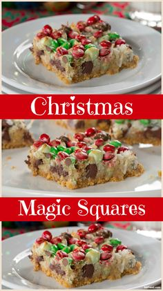 We can all bake up a little Christmas magic with this recipe for Christmas Magic Squares. They're loaded with chocolate, Christmas-colored candies, coconut, nuts, and more!