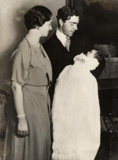 Princess Margaretha as a baby with her l parents Princess Sibylla and Prince Gustaf Adolf of Sweden in 1934 in Stockholm, Sweden