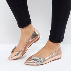 VIVID Wide Fit Embellished Ballet Flats Faux-leather upper Metallic finish Embellished detail Slip-on style Point toe Wide fit #metallicFInish #EmbellishedDetail #LeatherUpper #wideflats
