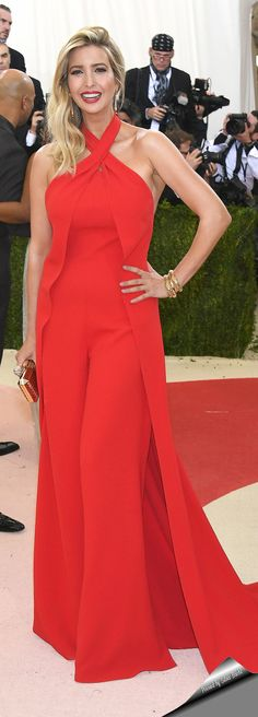 Ivanka Trump looked elegant as ever in her Ralph Lauren Collection halter jumpsuitat at the Met Gala 2016 red carpet.