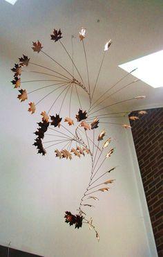 Handmade Copper Mobile w/ Hammered Maple Leaves by jfjones on Etsy