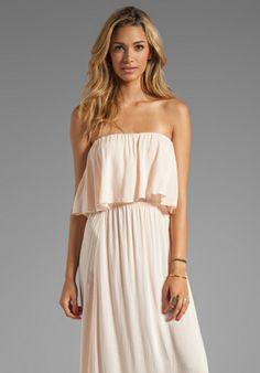 INDAH Havi Rayon Crepe Strapless Maxi Dress With Flounce Top in Petal - Maxi