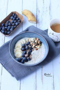 Porridge son d'avoine et flocons d'avoine - Rachel cuisine Oatmeal, Veggies, Breakfast, Recipes, Food, Lunch Recipes, Blueberries, The Oatmeal, Morning Coffee