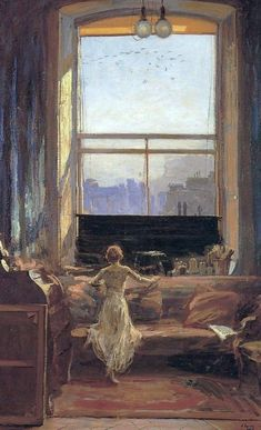 John Lavery (1856 - 1941): Daylight Raid from my Studio Window, 7 July 1917