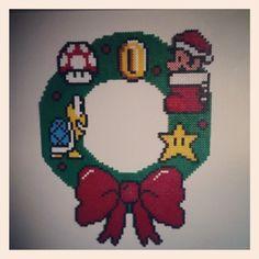 Christmas Mario wreath hama perler beads by augen_und_herz_sind_dynamit