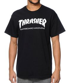 """Get tons of comfort with the cotton construction of the iconic Thrasher Skate Mag black t-shirt. Get an improved fit with a pre-shrunk design in a black colorway that showcases a classic white """"Thrasher Skateboard Magazine"""" text logo graphic at the ches"""