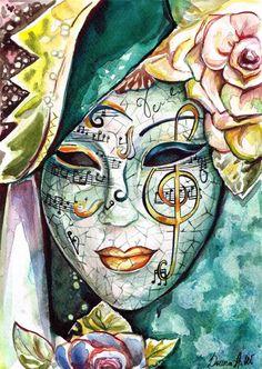 YOGOTOP DIY Diamond Painting Mask beauty fairy music Diamond Embroidery Full Square/round Mosaic Home Decor abstract Cross Paintings, Original Paintings, Original Artwork, Mask Painting, Venice Painting, Venetian Carnival Masks, Venice Mask, Mask Drawing, Image Nature