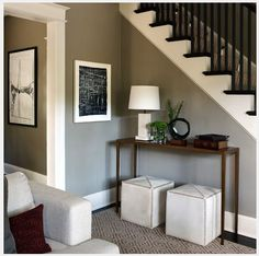 black railings and baluster, gray walls, sisal rug on stairs & floor (love love love) and dark floors - not what we talked about but we might keep the idea in our back pocket because, we love the look and is still very traditional/style long lasting