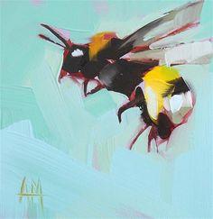 """Bumblebee Flight Painting"" - Original Fine Art for Sale - © Angela Moulton"