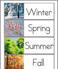 We have some wonderful printables you can use with your children when learning about the four seasons! Find sequencing games, file folder games, coloring pages, bookmarks and classroom charts! For Individual seasons see our Spring Preschool Word Walls, Preschool Literacy, Kindergarten Science, Preschool Printables, Preschool Bulletin, Preschool Ideas, Teaching Ideas, Seasons Kindergarten, Preschool Seasons