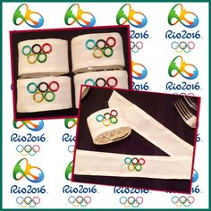 Olympic napkin rings I made for the Rio Summer Olympics tablescape