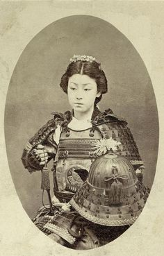 Rare vintage photograph of an onna-bugeisha, one of the female warriors of the upper social classes in feudal Japan