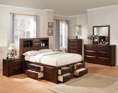 Acme 04070Q Manhattan 4Pcs Espresso Bookcase Queen Storage Bedroom Set