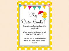 My Water Broke Baby Shower Game, Duck Theme Baby Shower Game Pack, Neutral,