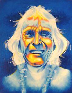 Native American Art Painting - Crazy Man by Robert Martinez kp