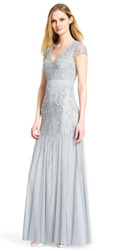 Adrianna Papell | Cap Sleeve Beaded Gown