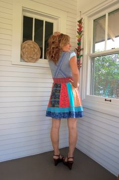 Eco DRESS Upcycled Clothing jumper suspender dress by zasra