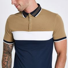 Navy block print muscle fit polo shirt - Polo Shirts - men