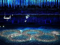 CLOSING CEREMONY:  Dancers make a playful reference to the Opening Ceremony ring failure during the 2014 Sochi Winter Olympics Closing Ceremony