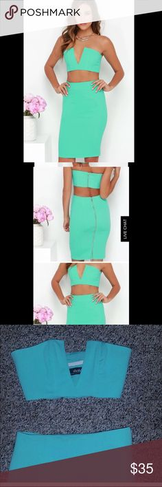 Lulus XS mint two piece dress ❤️ Worn once! Two piece turquoise dress, both top and bottom are so cute! Worn once to date party, perfect condition Lulu's Dresses Strapless
