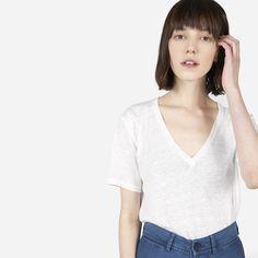 The Linen V-Neck (WHITE) $35 - 100% linen jersey